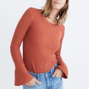 Madewell Ribbed Bell Sleeve Sweater Size Small